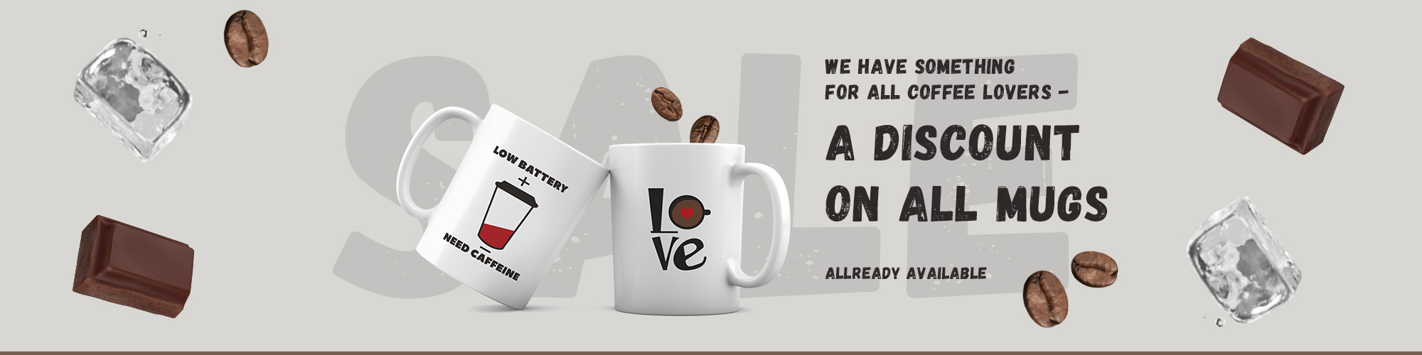 5% discount on all mugs!