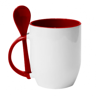 Color Red, Mugs with ceramic spoons - PrintSalon