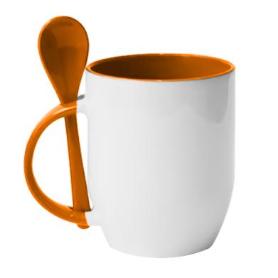 Color Orange, Mugs with ceramic spoons - PrintSalon