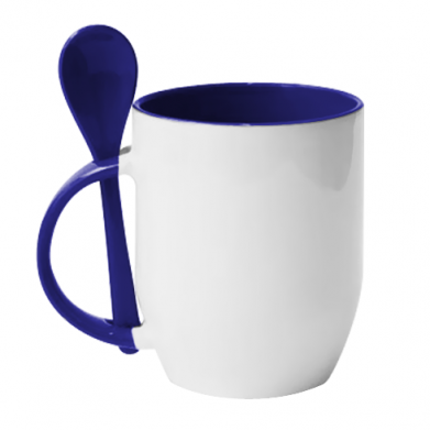 Color Blue, Mugs with ceramic spoons - PrintSalon
