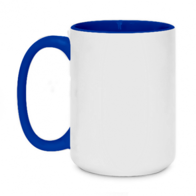 Kolor Ciemnoniebieski+biały, Kubki dwukolorowe 450ml - PrintSalon