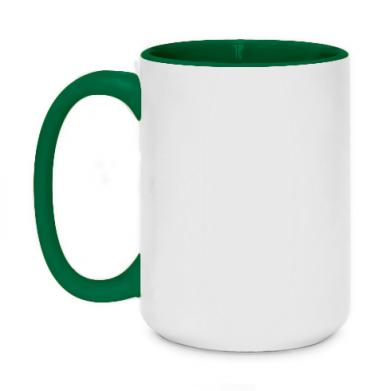 Kolor Zielony+biały, Kubki dwukolorowe 450ml - PrintSalon