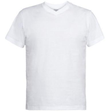 Kolor Biały, Męskie koszulki V-neck - PrintSalon