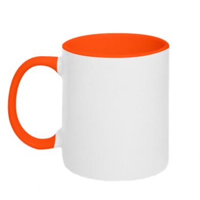 Kolor Pomarańczowy+biały, Kubki dwukolorowe - PrintSalon