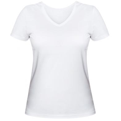 Kolor Biały, Damskie koszulki V-neck - PrintSalon
