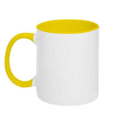 Kolor Żółty+biały, Kubki dwukolorowe - PrintSalon