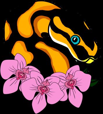 Print Etui na iPhone 11 Snake in flowers - PrintSalon