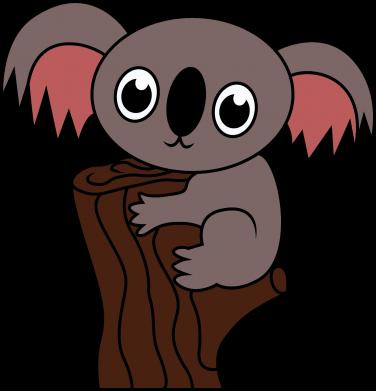 Print Damska koszulka polo Koala on a tree with big eyes - PrintSalon