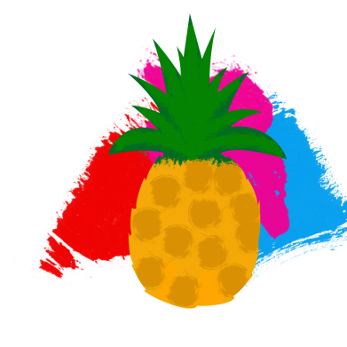 Print Water bottle Pineapple on a bright background - PrintSalon