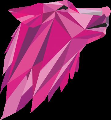 Print Notes Wolf graphics pink - PrintSalon
