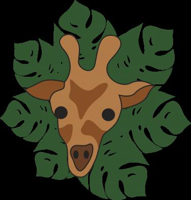 Print Water bottle Giraffe in monstera leaves - PrintSalon