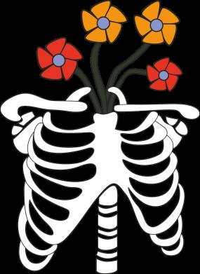 Print Sweatshirt Bones with flowers - PrintSalon
