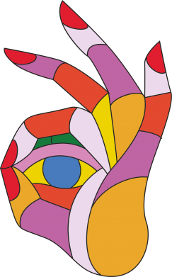 Print Kubek-kameleon Colorful hand with eye - PrintSalon