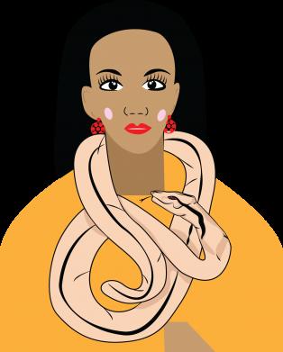 Print Damska koszulka polo Dziewczyna z wężem - PrintSalon