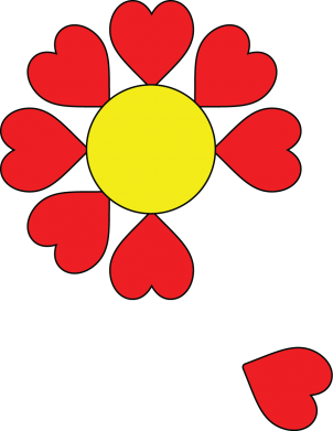 Print Damska koszulka polo Kwiat serc - PrintSalon