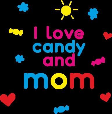 Print Plecak z przednią kieszenią I love candy and mom - PrintSalon