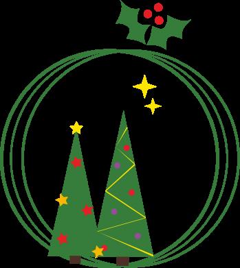 Print Sweatshirt Christmas trees in a wreath - PrintSalon