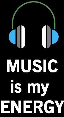 Print Plecak z przednią kieszenią Music is my energy - PrintSalon