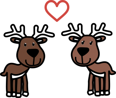 Print Mug 330ml Deer in love - PrintSalon