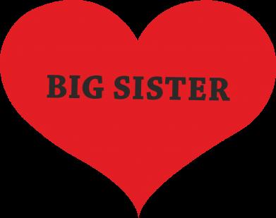 Print Etui na iPhone 11 Pro Max Big sister, napis w sercu - PrintSalon