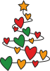 Christmas tree and a lot of hearts
