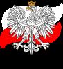 Herb Polski na tle flagi