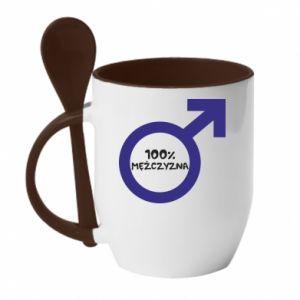 Mug with ceramic spoon 100% man! - PrintSalon