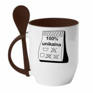 Mug with ceramic spoon 100% unique, for her - PrintSalon