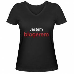 Women's V-neck t-shirt I'm bloger - PrintSalon