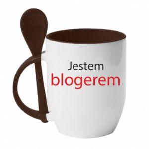 Mug with ceramic spoon I'm bloger - PrintSalon