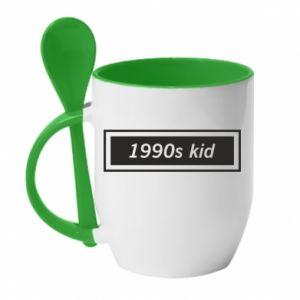 Kubek z ceramiczną łyżeczką 1990s kid