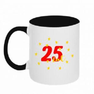 Kubek dwukolorowy 25 lat, z gwiazdami