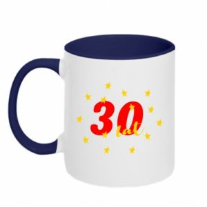 Two-toned mug 30 years, with stars