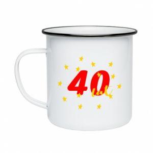 Kubek emaliowane 40 lat, z gwiazdami