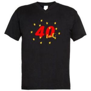 Męska koszulka V-neck 40 lat, z gwiazdami