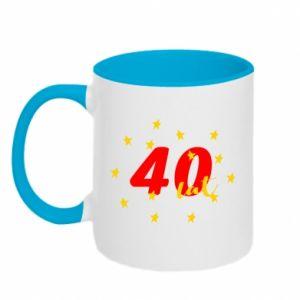 Kubek dwukolorowy 40 lat, z gwiazdami