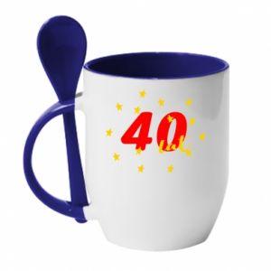 Kubek z ceramiczną łyżeczką 40 lat, z gwiazdami