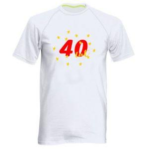 Męska koszulka sportowa 40 lat, z gwiazdami