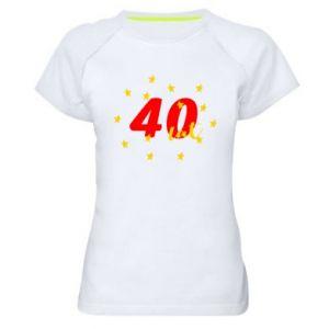 Damska koszulka sportowa 40 lat, z gwiazdami