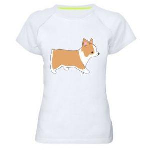 Damska koszulka sportowa Corgi w drodze