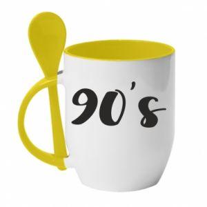 Mug with ceramic spoon 90's