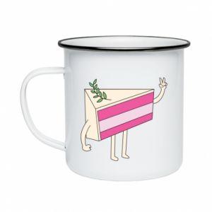 Enameled mug Cake welcomes - PrintSalon