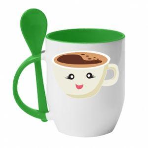 Mug with ceramic spoon A cup of coffee - PrintSalon