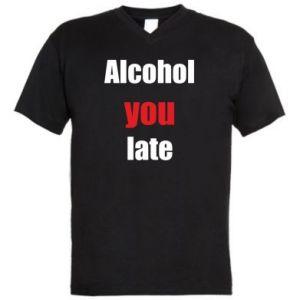 Męska koszulka V-neck Alcohol you late