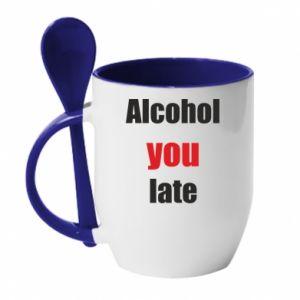 Kubek z ceramiczną łyżeczką Alcohol you late