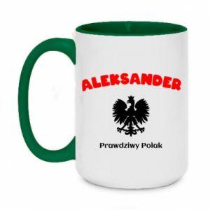 Kubek dwukolorowy 450ml Aleksander jest prawdziwym Polakiem