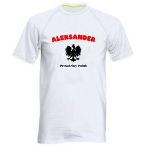 Męska koszulka sportowa Aleksander jest prawdziwym Polakiem