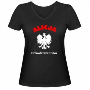 Damska koszulka V-neck Alicja jest prawdziwą Polką