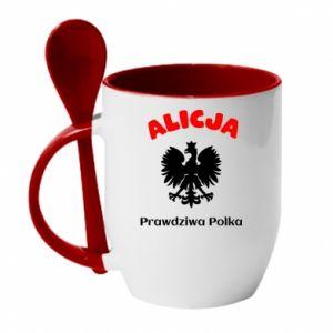 Kubek z ceramiczną łyżeczką Alicja jest prawdziwą Polką