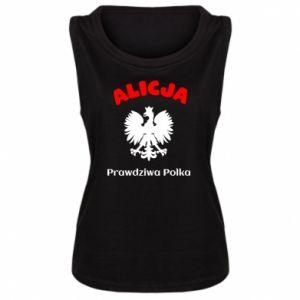 Damska koszulka bez rękawów Alicja jest prawdziwą Polką